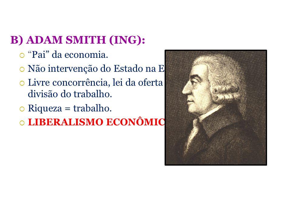 B) ADAM SMITH (ING): Pai da economia.
