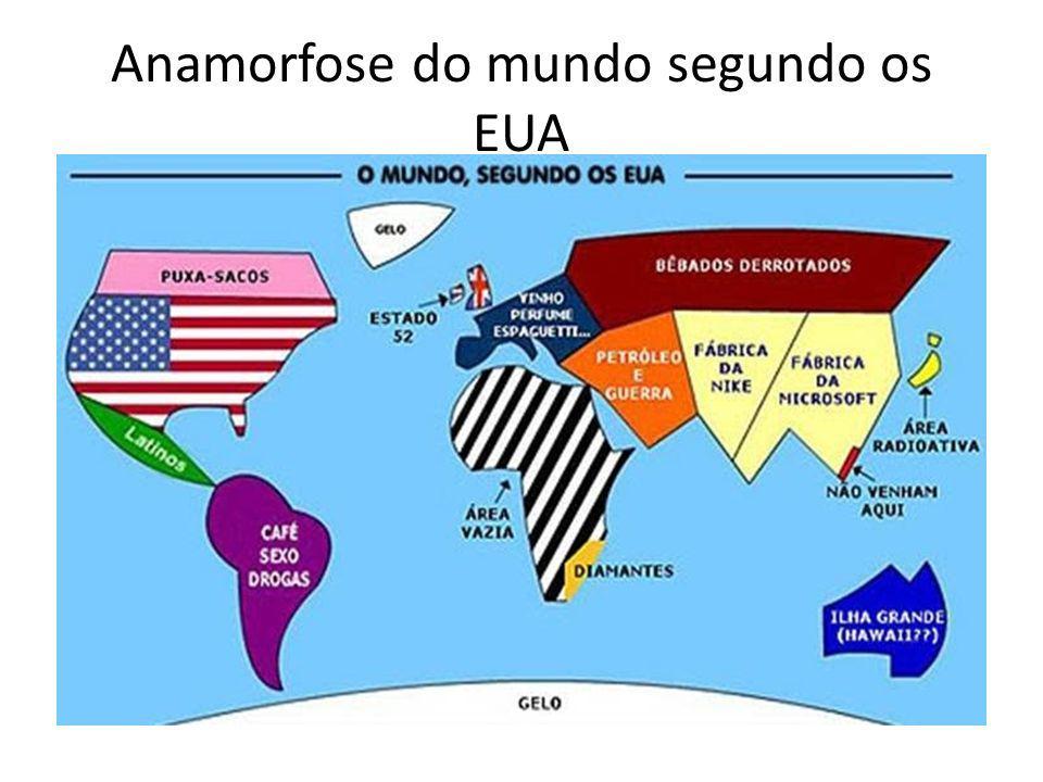Anamorfose do mundo segundo os EUA