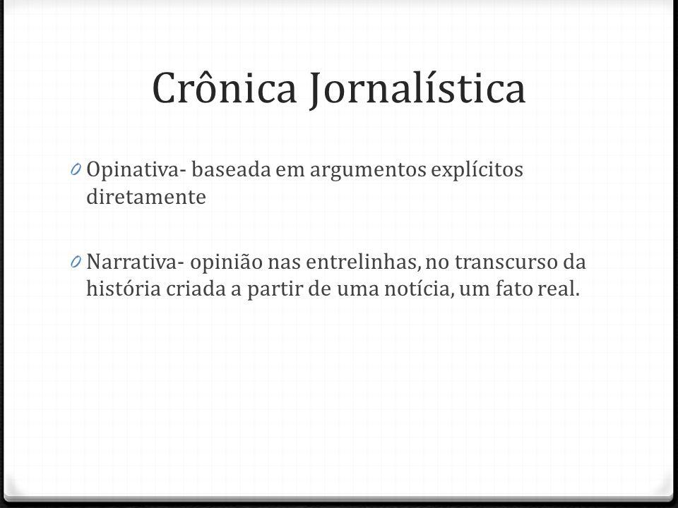 Crônica Jornalística Opinativa- baseada em argumentos explícitos diretamente.