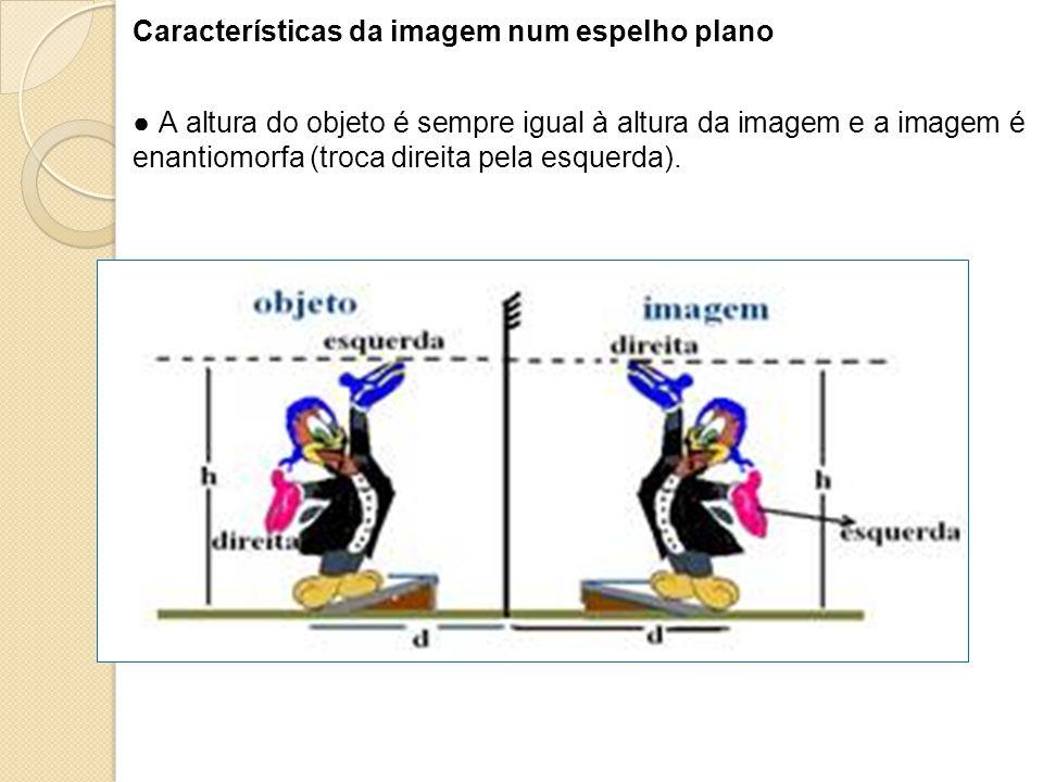 Características da imagem num espelho plano
