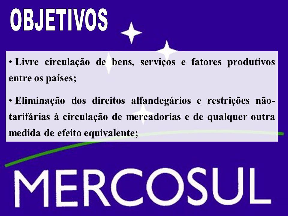 OBJETIVOS Livre circulação de bens, serviços e fatores produtivos entre os países;
