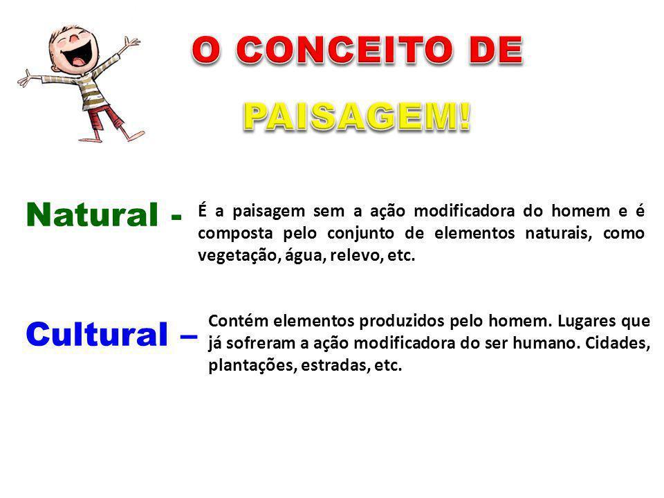 O CONCEITO DE PAISAGEM! Natural - Cultural –