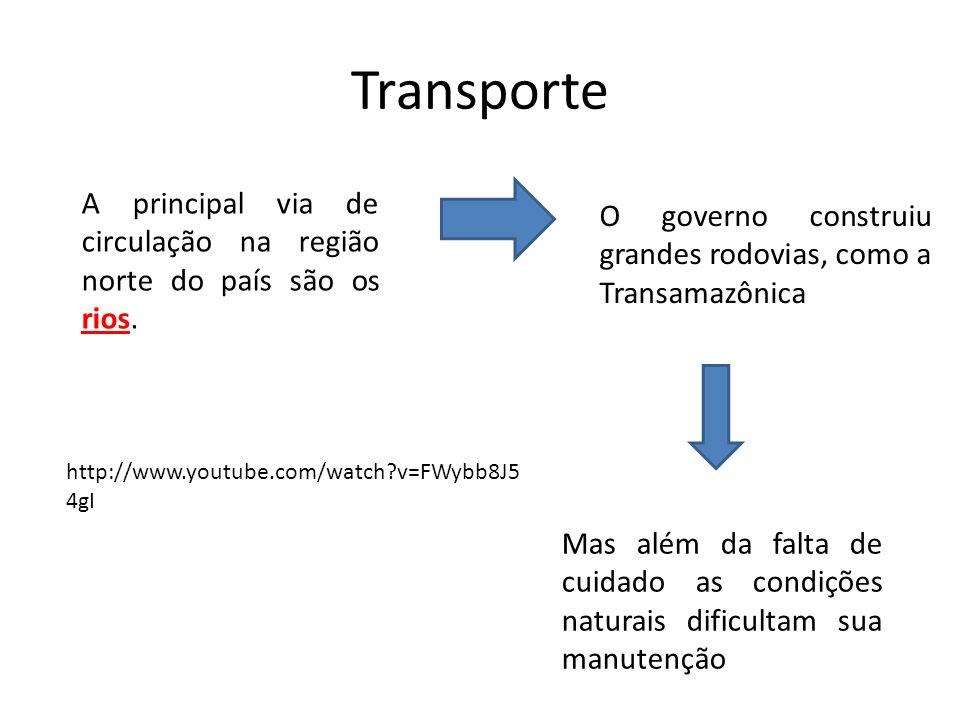 Transporte A principal via de circulação na região norte do país são os rios. O governo construiu grandes rodovias, como a Transamazônica.