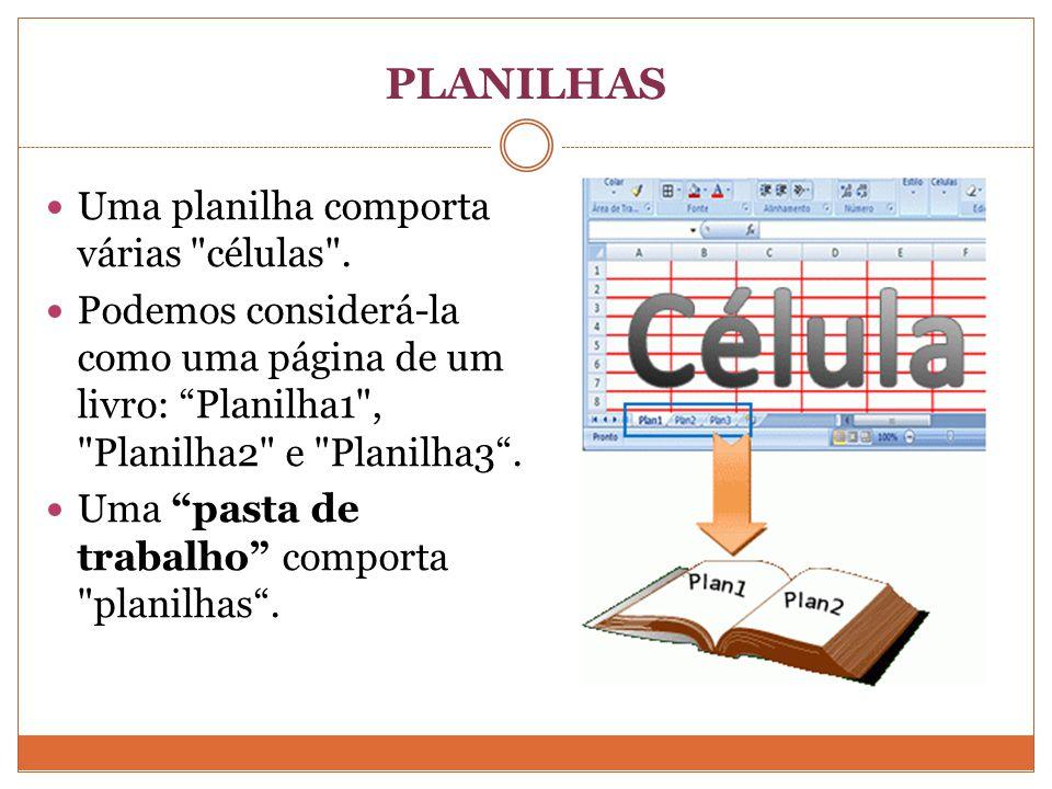 PLANILHAS Uma planilha comporta várias células .