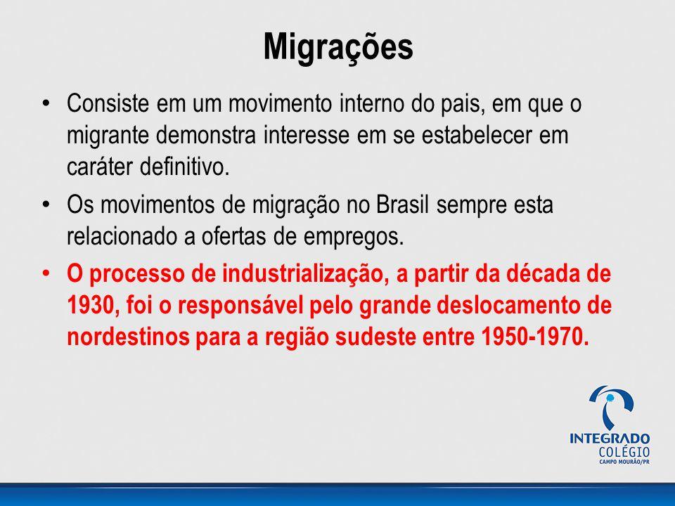 Migrações Consiste em um movimento interno do pais, em que o migrante demonstra interesse em se estabelecer em caráter definitivo.