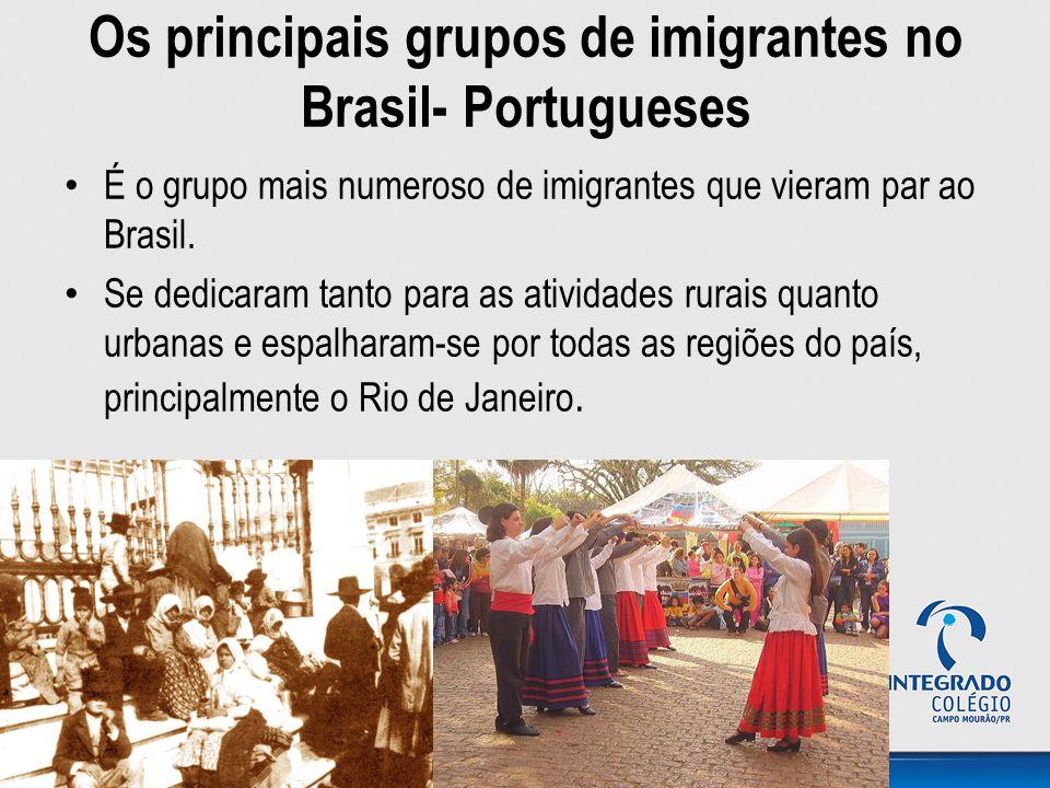 Os principais grupos de imigrantes no Brasil- Portugueses