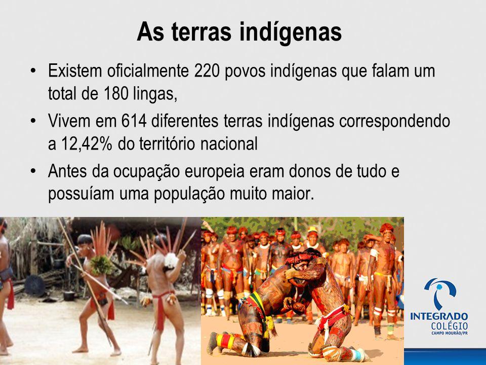 As terras indígenas Existem oficialmente 220 povos indígenas que falam um total de 180 lingas,