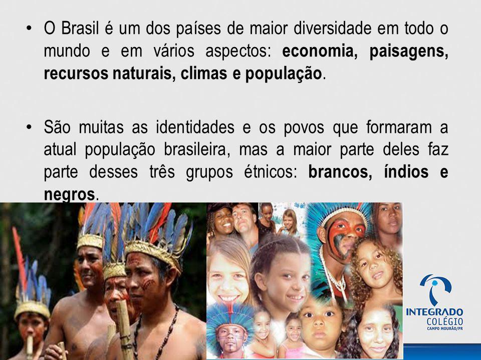 O Brasil é um dos países de maior diversidade em todo o mundo e em vários aspectos: economia, paisagens, recursos naturais, climas e população.