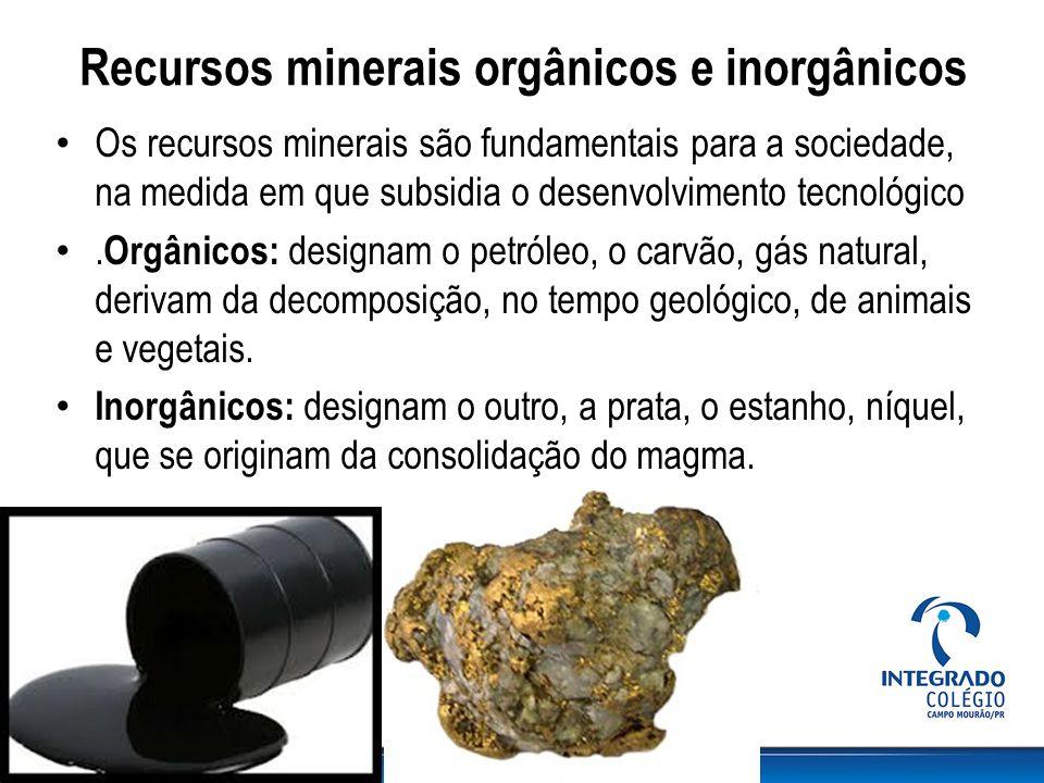 Recursos minerais orgânicos e inorgânicos