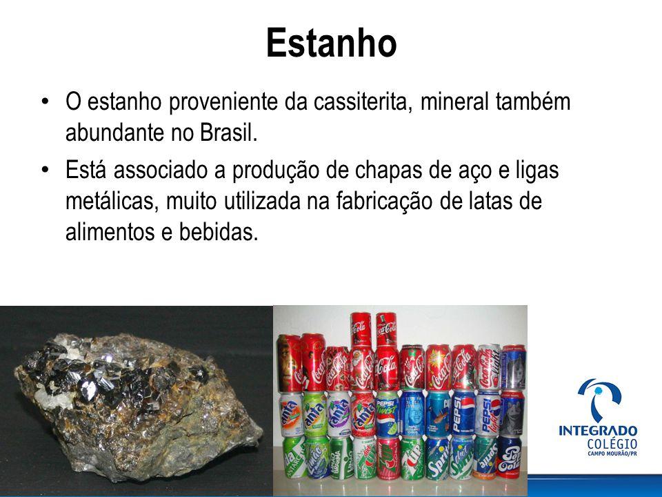 Estanho O estanho proveniente da cassiterita, mineral também abundante no Brasil.