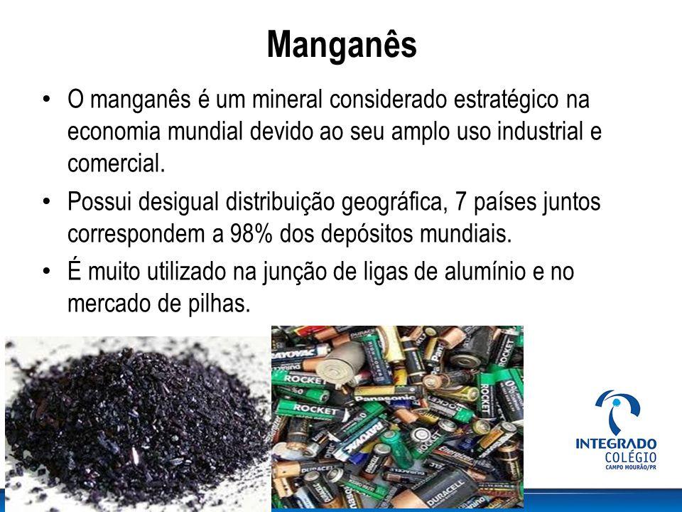 Manganês O manganês é um mineral considerado estratégico na economia mundial devido ao seu amplo uso industrial e comercial.