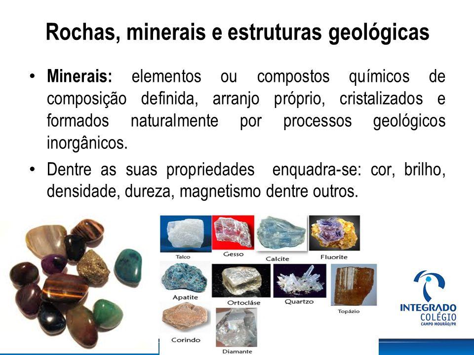 Rochas, minerais e estruturas geológicas