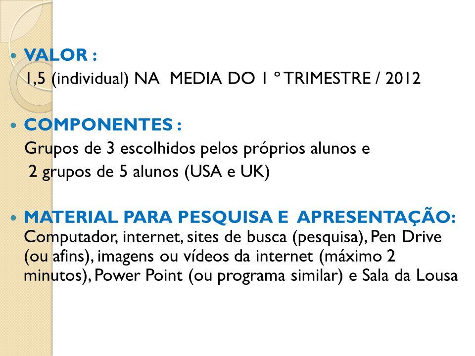 VALOR : 1,5 (individual) NA MEDIA DO 1 º TRIMESTRE / 2012. COMPONENTES : Grupos de 3 escolhidos pelos próprios alunos e.