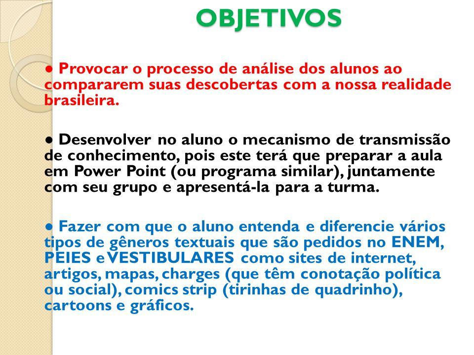OBJETIVOS ● Provocar o processo de análise dos alunos ao compararem suas descobertas com a nossa realidade brasileira.