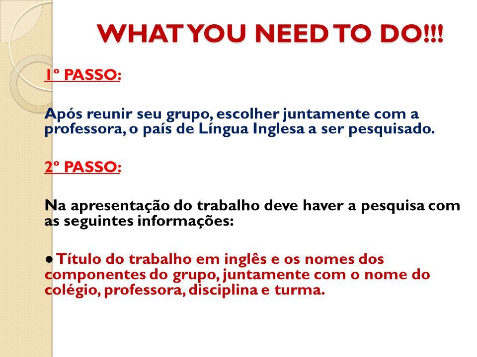 WHAT YOU NEED TO DO!!! 1º PASSO: Após reunir seu grupo, escolher juntamente com a professora, o país de Língua Inglesa a ser pesquisado.