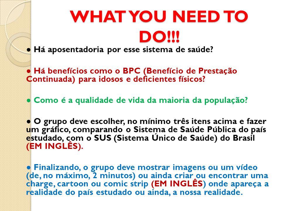 WHAT YOU NEED TO DO!!! ● Há aposentadoria por esse sistema de saúde