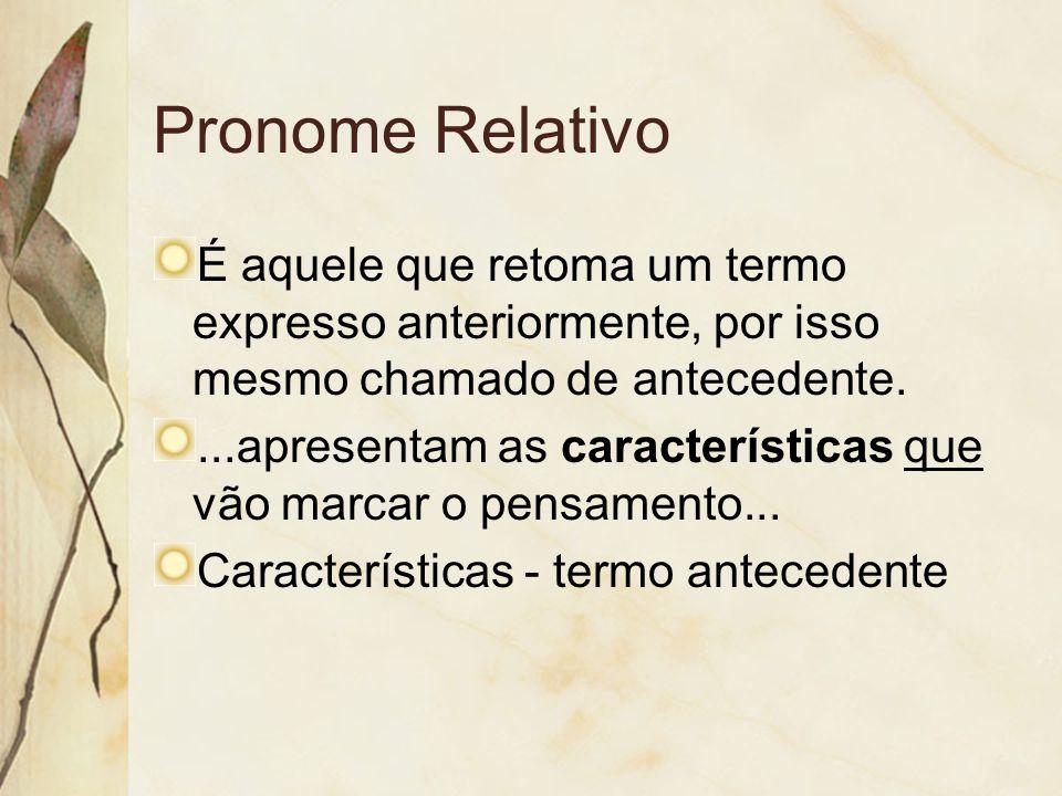 Pronome Relativo É aquele que retoma um termo expresso anteriormente, por isso mesmo chamado de antecedente.