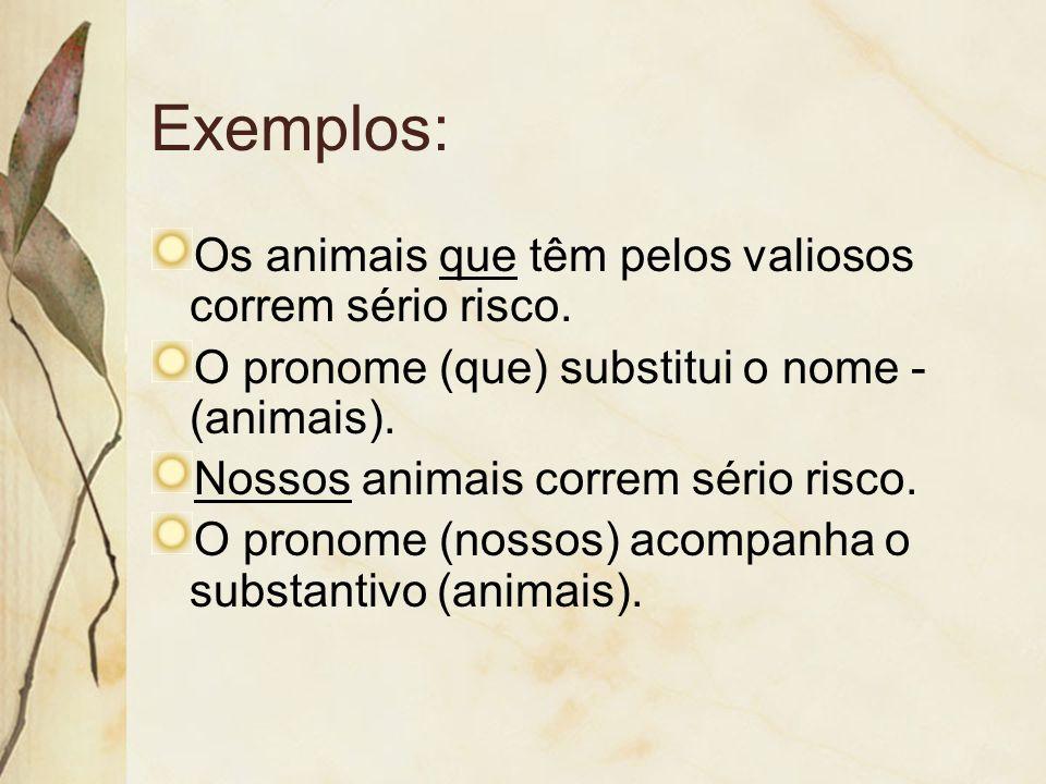 Exemplos: Os animais que têm pelos valiosos correm sério risco.