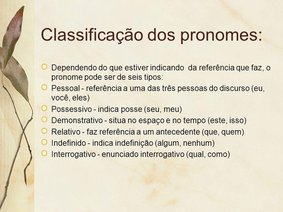 Classificação dos pronomes: