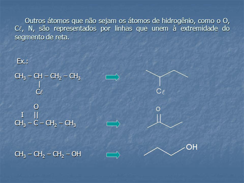 Outros átomos que não sejam os átomos de hidrogênio, como o O, C, N, são representados por linhas que unem à extremidade do segmento de reta.