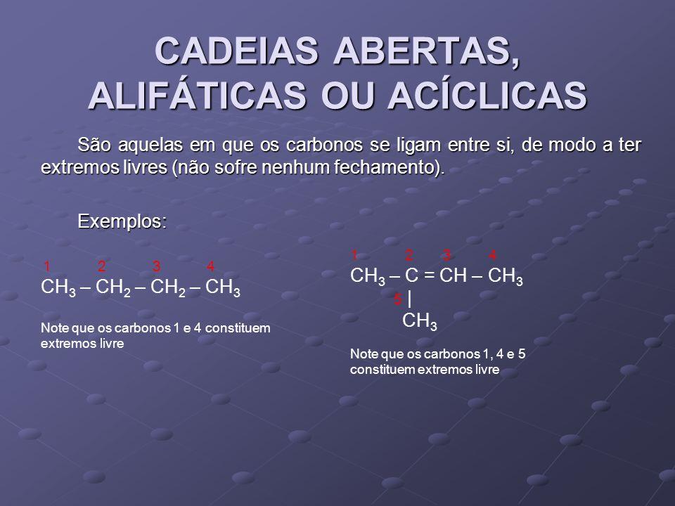 CADEIAS ABERTAS, ALIFÁTICAS OU ACÍCLICAS