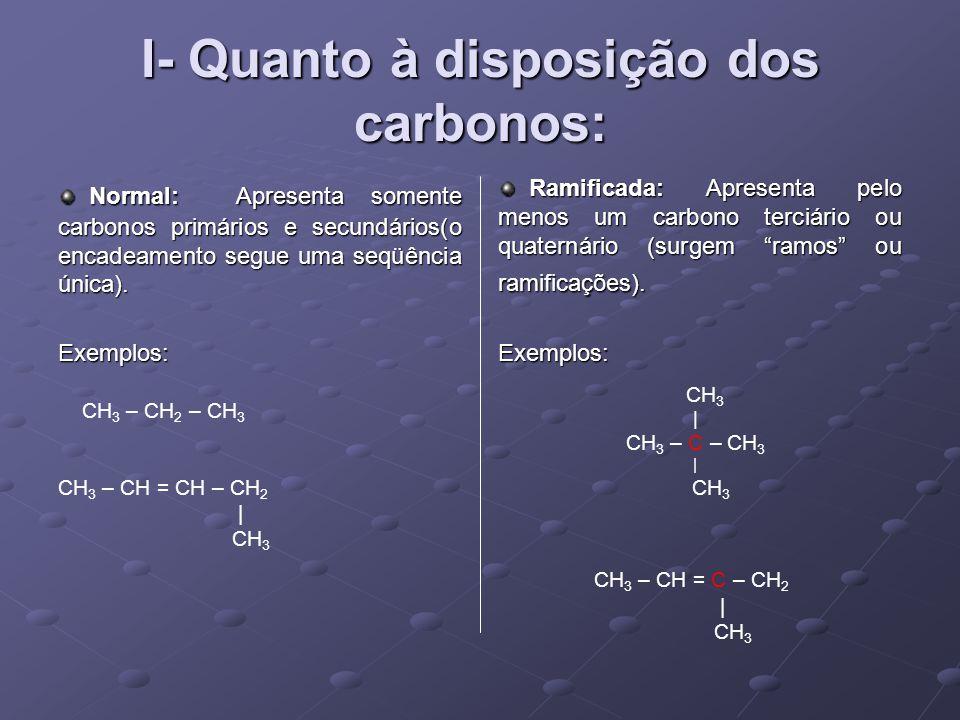 I- Quanto à disposição dos carbonos:
