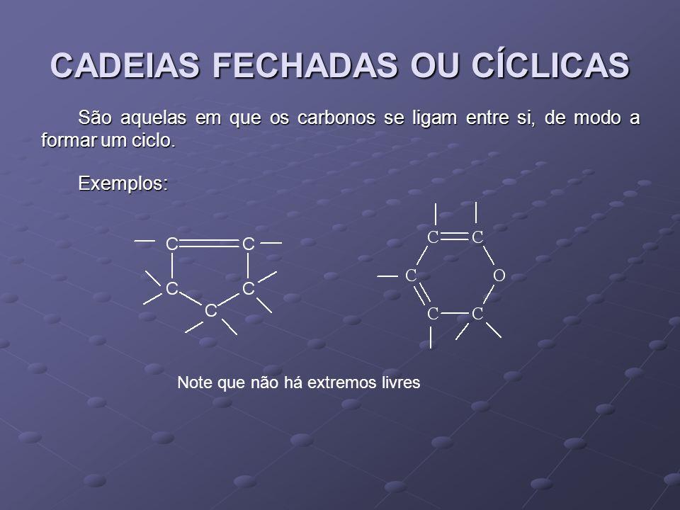 CADEIAS FECHADAS OU CÍCLICAS