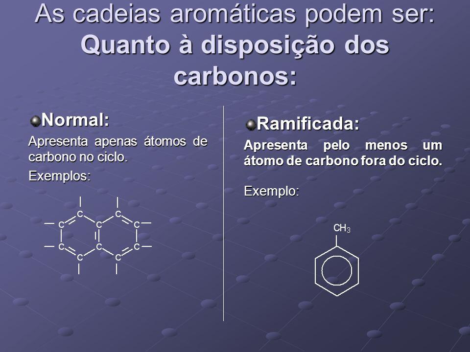 As cadeias aromáticas podem ser: Quanto à disposição dos carbonos: