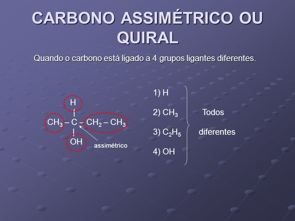 CARBONO ASSIMÉTRICO OU QUIRAL