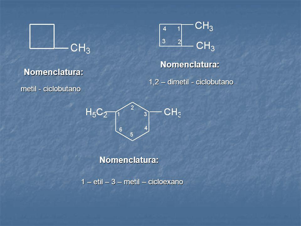 Nomenclatura: Nomenclatura: Nomenclatura: 1,2 – dimetil - ciclobutano