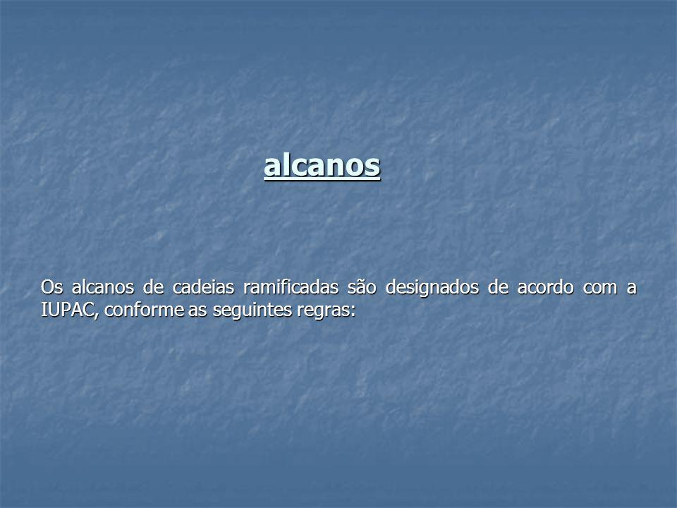 alcanos Os alcanos de cadeias ramificadas são designados de acordo com a IUPAC, conforme as seguintes regras: