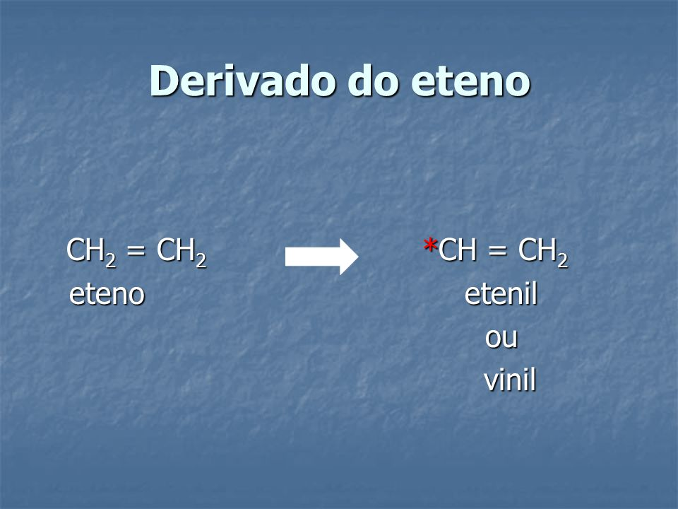 Derivado do eteno CH2 = CH2 *CH = CH2. eteno etenil.