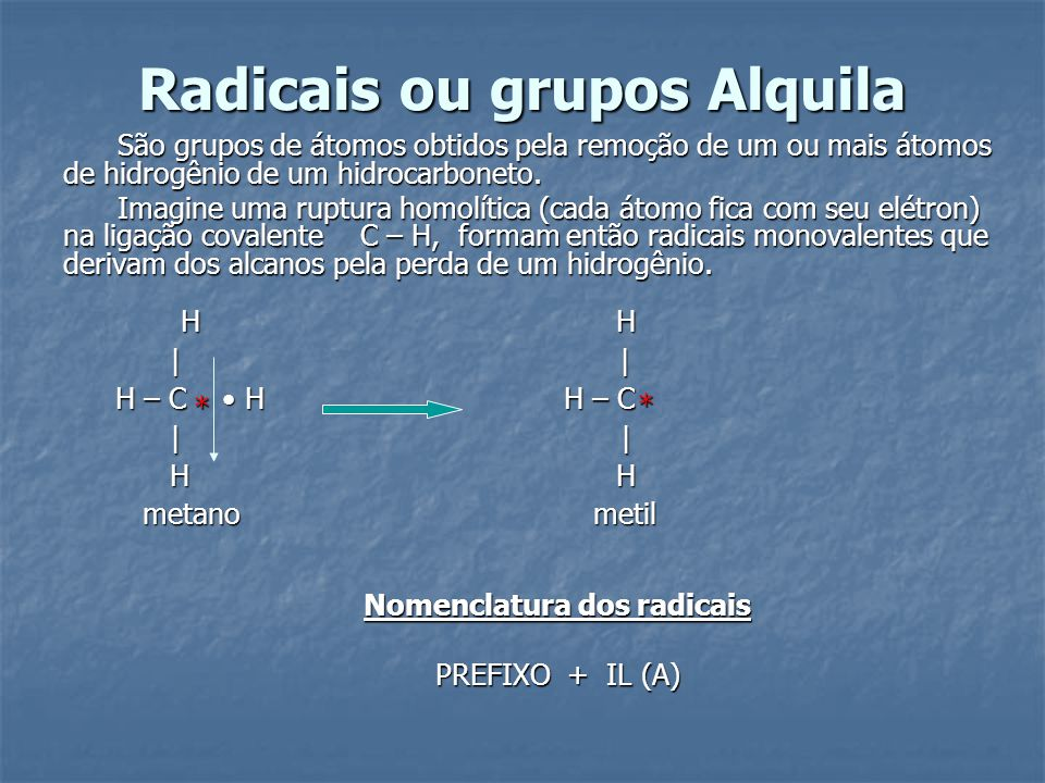 Radicais ou grupos Alquila