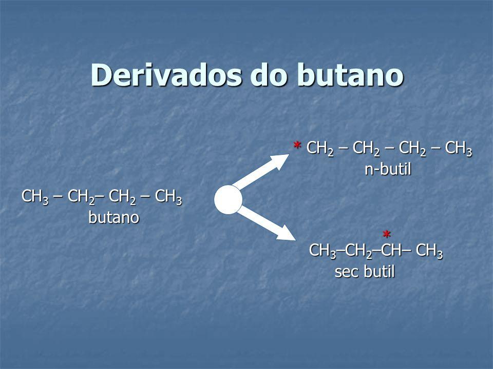 Derivados do butano * CH2 – CH2 – CH2 – CH3 n-butil