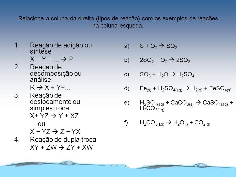 1. Reação de adição ou síntese X + Y + ...  P