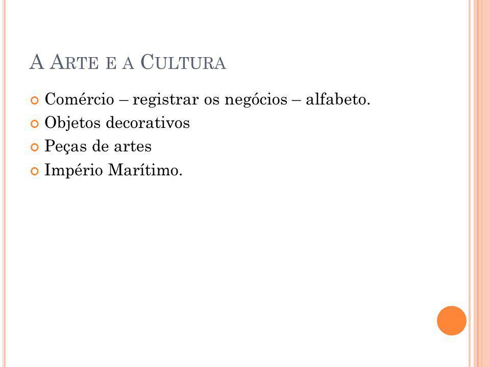 A Arte e a Cultura Comércio – registrar os negócios – alfabeto.