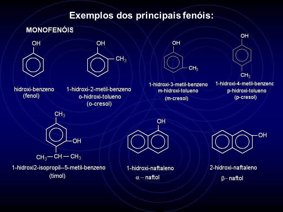 Exemplos dos principais fenóis: