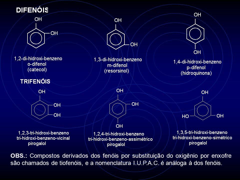 OBS.: Compostos derivados dos fenóis por substituição do oxigênio por enxofre são chamados de tiofenóis, e a nomenclatura I.U.P.A.C. é análoga à dos fenóis.