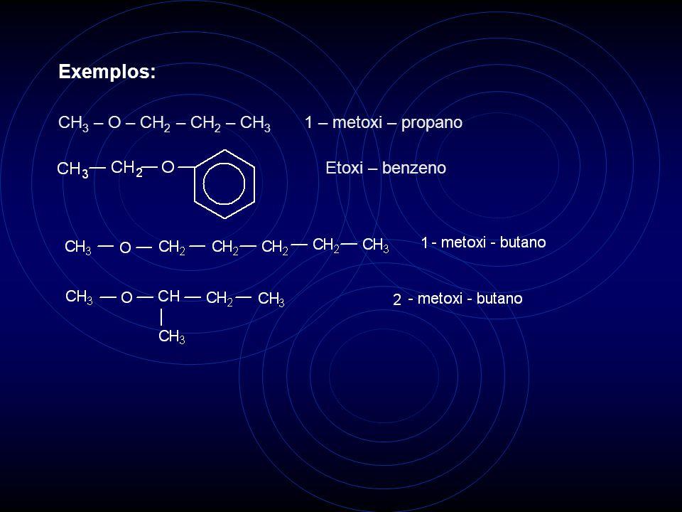 Exemplos: CH3 – O – CH2 – CH2 – CH3 1 – metoxi – propano