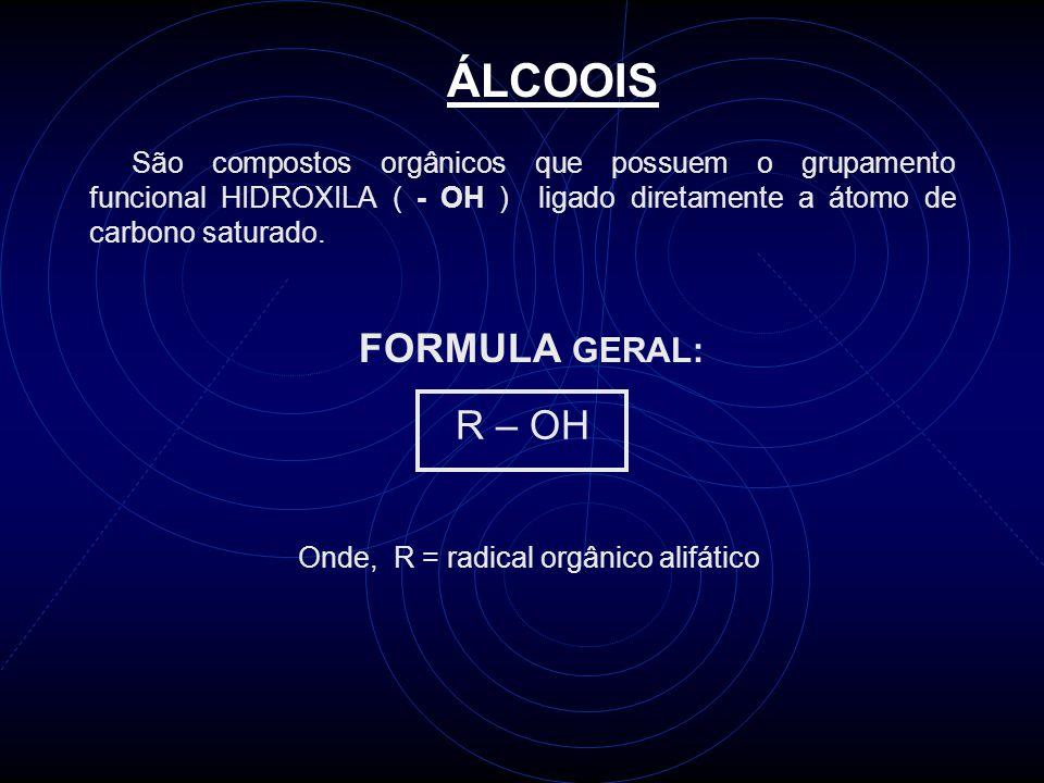 ÁLCOOIS FORMULA GERAL: R – OH