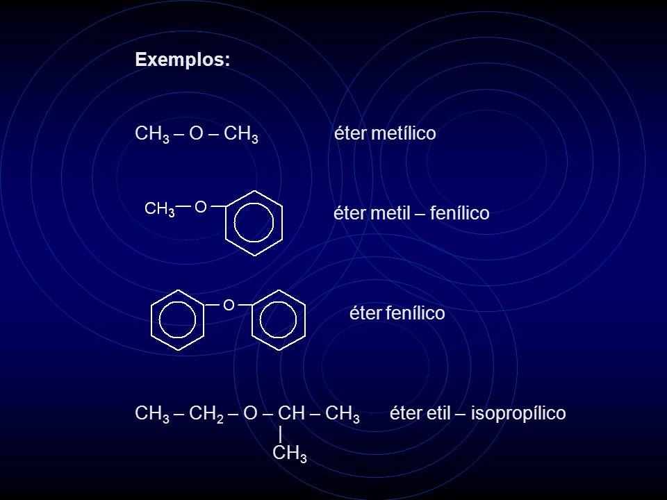 Exemplos: CH3 – O – CH3 éter metílico. éter metil – fenílico. éter fenílico. CH3 – CH2 – O – CH – CH3 éter etil – isopropílico.