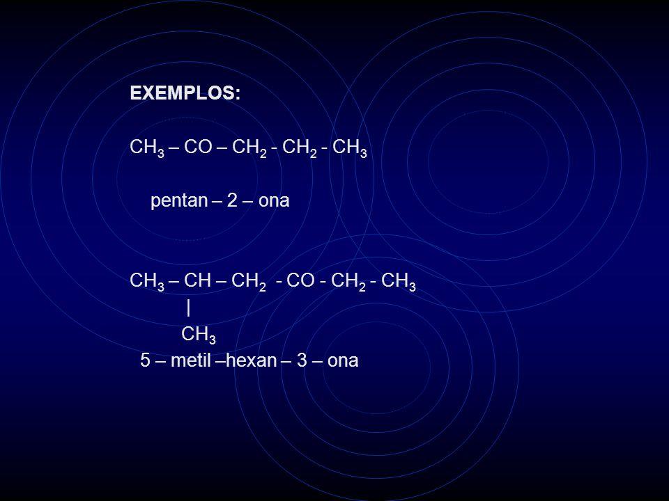 EXEMPLOS: CH3 – CO – CH2 - CH2 - CH3. pentan – 2 – ona. CH3 – CH – CH2 - CO - CH2 - CH3. | CH3.
