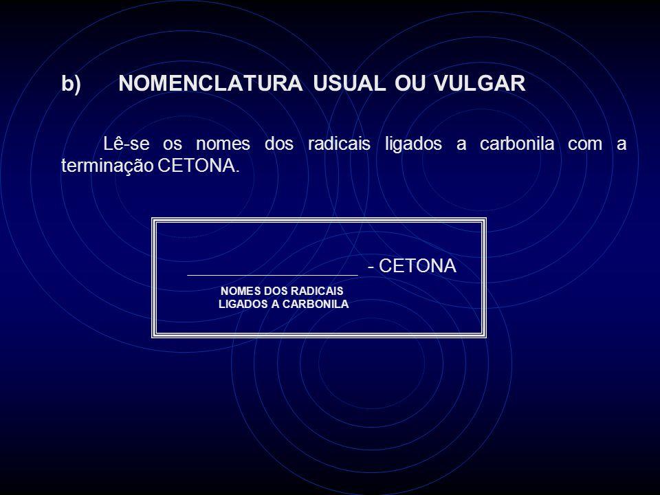 b) NOMENCLATURA USUAL OU VULGAR