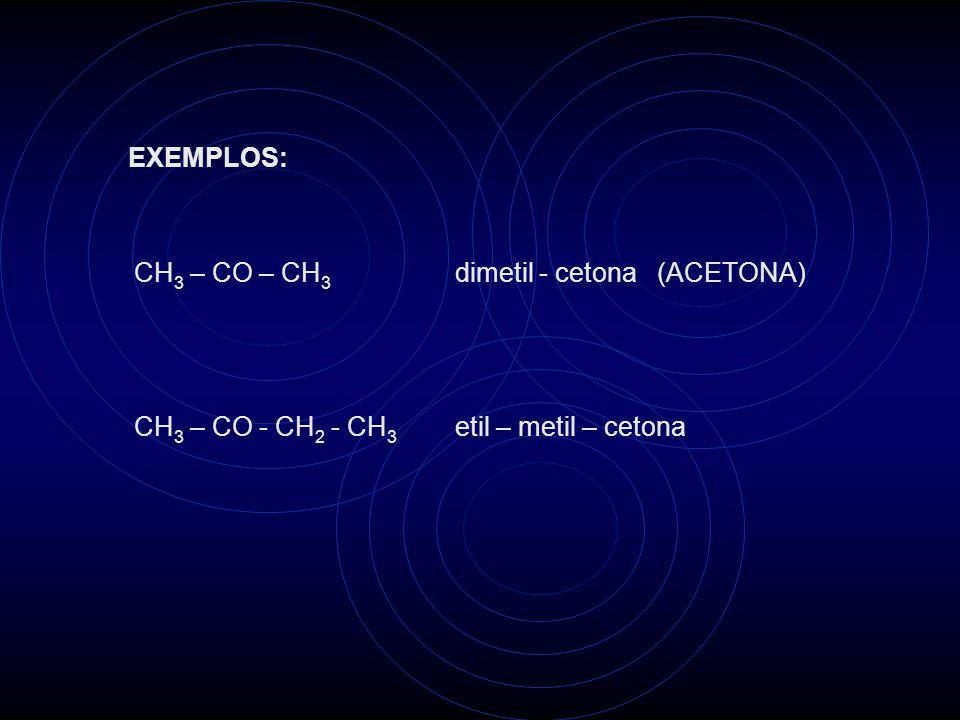 EXEMPLOS: CH3 – CO – CH3 dimetil - cetona (ACETONA) CH3 – CO - CH2 - CH3 etil – metil – cetona.