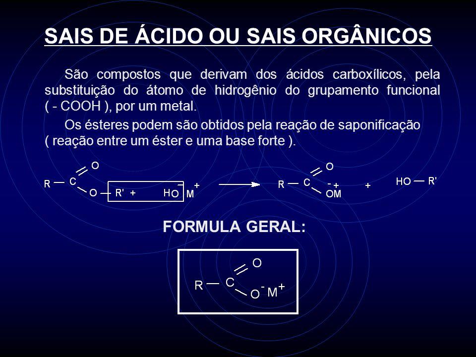 SAIS DE ÁCIDO OU SAIS ORGÂNICOS