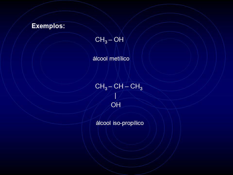 Exemplos: CH3 – OH CH3 – CH – CH3 | OH álcool metílico