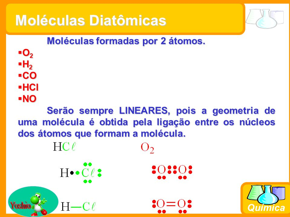 Moléculas Diatômicas Yoshio Moléculas formadas por 2 átomos. O2 H2 CO
