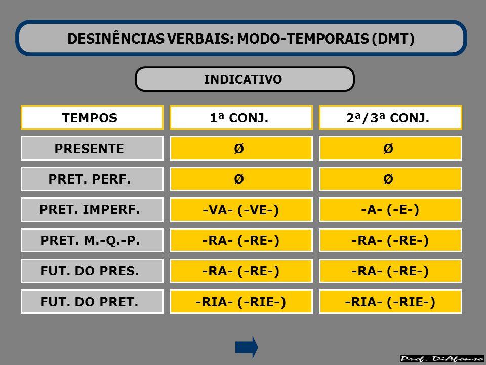 DESINÊNCIAS VERBAIS: MODO-TEMPORAIS (DMT)