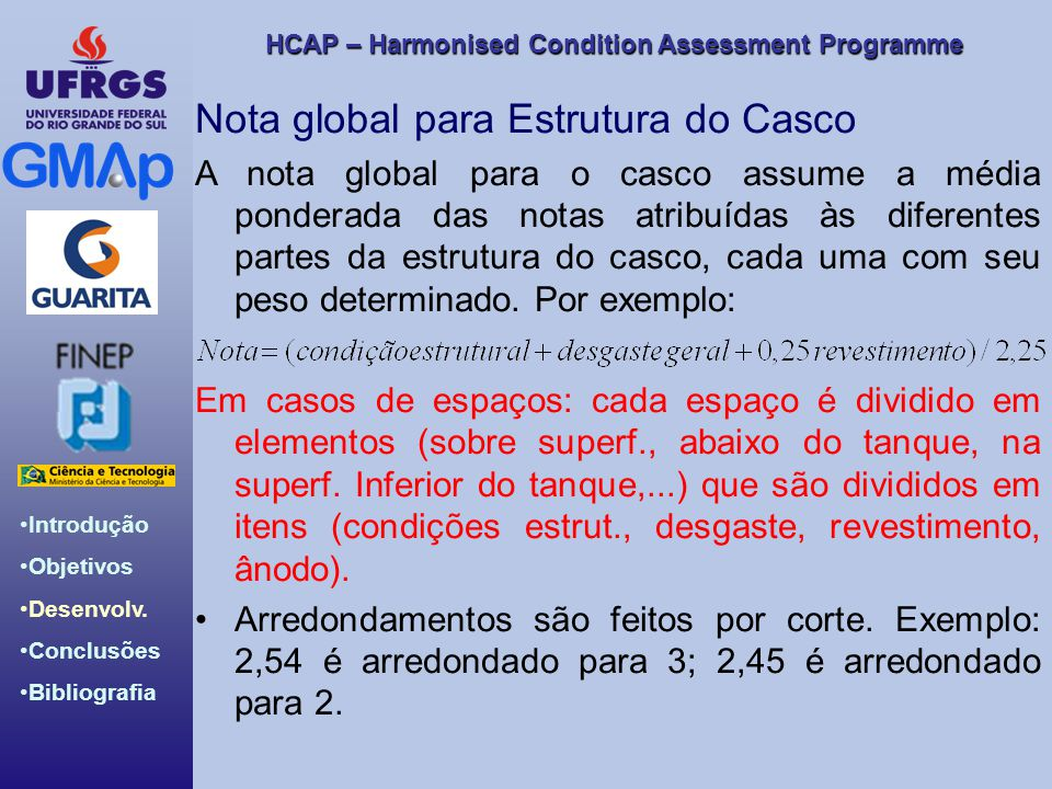Nota global para Estrutura do Casco