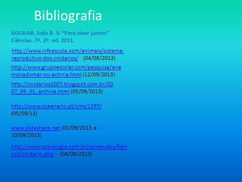 Bibliografia AGUILAR, João B. V. Para viver juntos Ciências. 7º. 2º. ed. 2011.